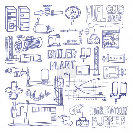Illustration for Boiler room equipment, engineering systems. Sketch. Vector file. Gas, heat, cold and hot water. Utilities. Boiler room operator, locksmith. - Royalty Free Image