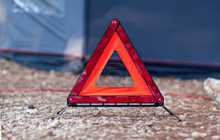 Reflective red triangle car accessory alert sign