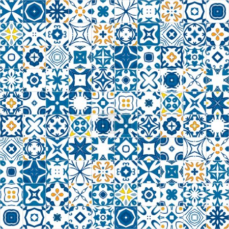 Photo for Seamless pattern illustration in traditional style - like Portuguese tiles - Royalty Free Image