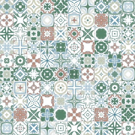 Illustration for Seamless pattern illustration in traditional style - like Portuguese tiles - Royalty Free Image
