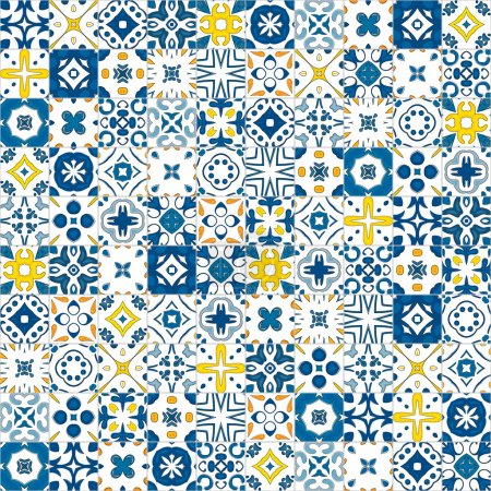 Illustration for Seamless pattern illustration in traditional style - like Portuguese tile - Royalty Free Image
