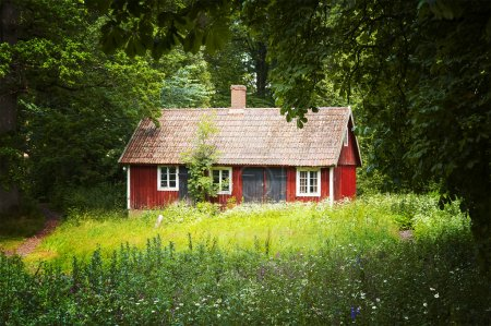 Photo pour Image of a small red cottage in a forrest clearing. South east Sweden. - image libre de droit