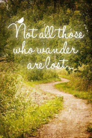 """Photo pour Citation inspirante """"tous ceux qui errent"""", sur un fond de chemin dans la forêt . - image libre de droit"""