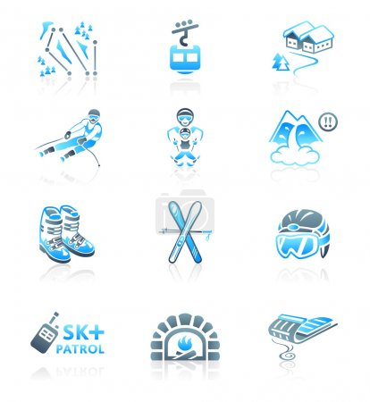 Skiing resort icons - MARINE series