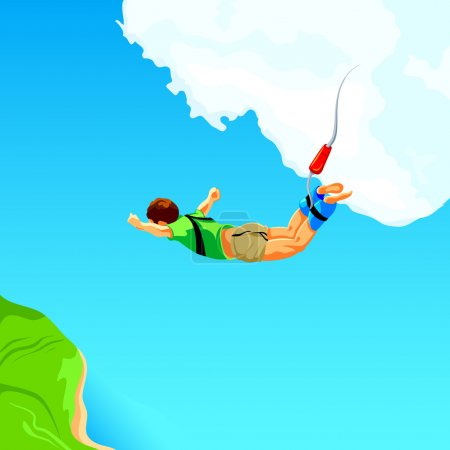 Free fall from the sky on bungee rope...