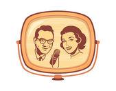 Female and male presenters on retro tv talk show