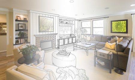 Living Room Drawing Gradation Into Photograph