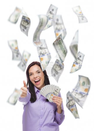 Happy Woman Holding One Hundred Dollar Bills with Many Falling Around