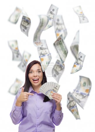 Celebrating Young Woman Holding One Hundred Dollar...