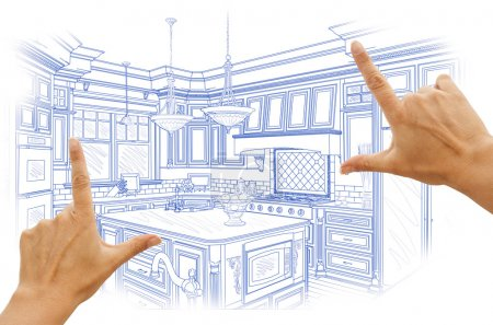 Hands Framing Blue Custom Kitchen Design Drawing