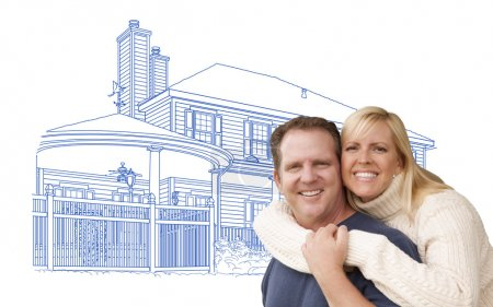 Hugging Couple Over House Drawing on White