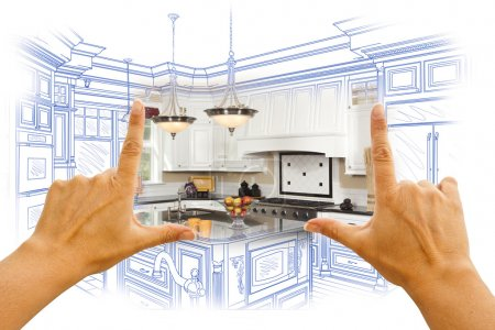 Photo for Female Hands Framing Custom Kitchen Design Drawing and Photo Combination. - Royalty Free Image