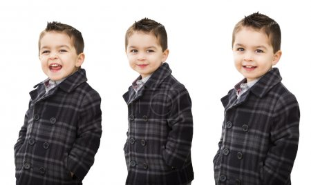 Photo for Cute Mixed Race Boy in Warm Coat Portrait Variety Isolated on White. - Royalty Free Image