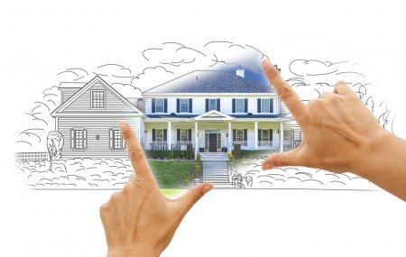 Photo for Hands Framing House Drawing and Photo Combination on White. - Royalty Free Image