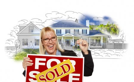 Woman Holding Keys, Sold Sign Over House Photo and Drawing