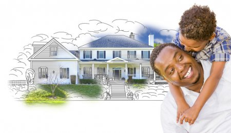 Mixed Race Father and Son Over House Drawing and Photo