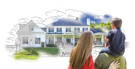 Young Family Facing House Drawing and Photo