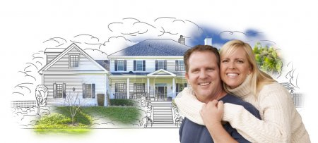 Hugging Couple Over House Drawing and Photo on White