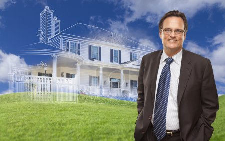 Smiling Businessman with Ghosted House Drawing Behind