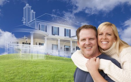 Hugging Couple with Ghosted House Drawing Behind