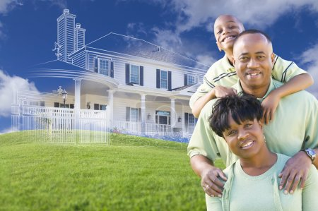African American Family with Ghosted House Drawing Behind