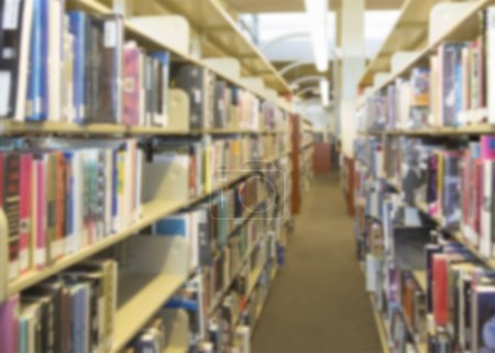 Blurry Library Aisle Background