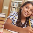 Happy Hispanic Girl Student with Pencil and Books ...