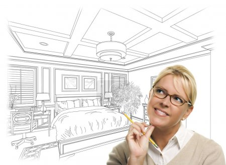 Woman With Pencil Over Bedroom Design Drawing and Photo Combinat