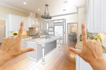 Hands Framing Gradated Custom Kitchen Design Drawing and Photo C