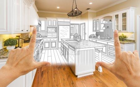 Photo pour Femelles mains encadrement personnalisé cuisine Design dessin et carré Photo combinaison. - image libre de droit