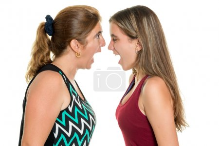 Photo for Angry mother and her teenage daughter yelling at each other  - Isolated on a white background - Royalty Free Image