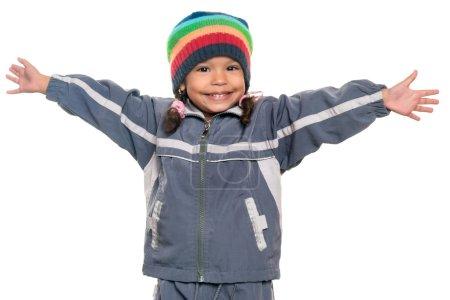 Mixed race little girl offering a hug
