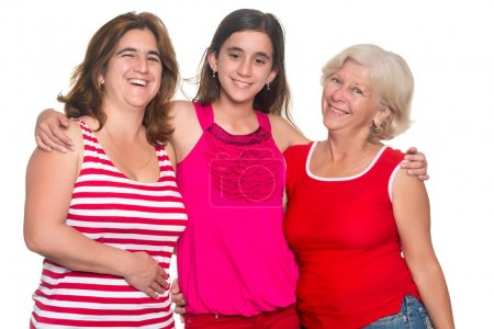 Photo for Three generations of hispanic women isolated on a white background - Royalty Free Image