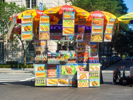 NEW YORK,USA - AUGUST 18,2015 : Fast food stand in...
