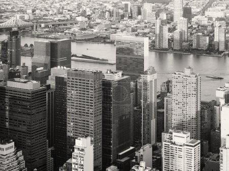 Black and white urban landscape of New York City