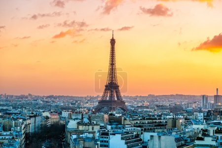 Eiffel tower at sunrise in Paris