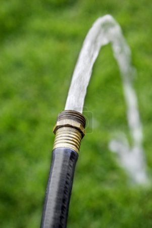 Black Hose Squirting Fresh Water on Grass