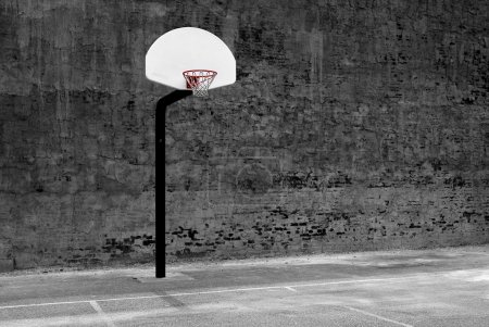 Photo for Detail of urban basketball hoop inner city innercity wall and asphalt in outdoor park - Royalty Free Image