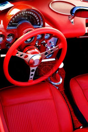 Photo for Detail of interior red sports car steering wheel speedometer - Royalty Free Image