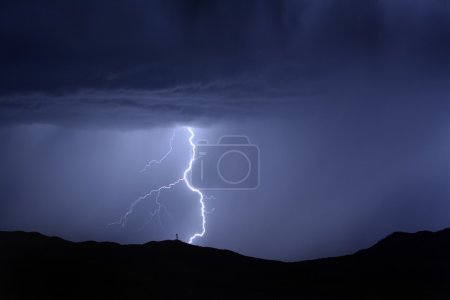 Lightning Bolt on Mountain with Radio Tower