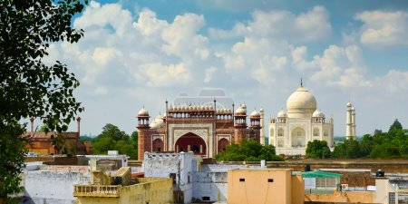 Photo for View of Taj Mahal mausoleum from Agra roofs, Uttar Pradesh, India - Royalty Free Image