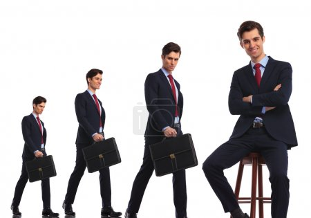 Same business man in different stages of career evolution