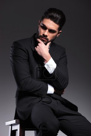 elegant business man thinking