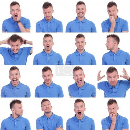 Photo for Set of sixteen pictures of a young casual man showing various expressions. isolated on a white background - Royalty Free Image