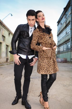 Fashion woman leaning on her lover