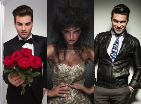 Collage picture of three fashion models posing in studio