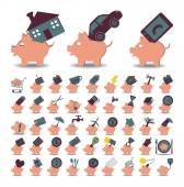 Set 48 icons piggy bank and savings