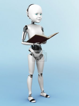 3D rendering of a robot child reading a book.