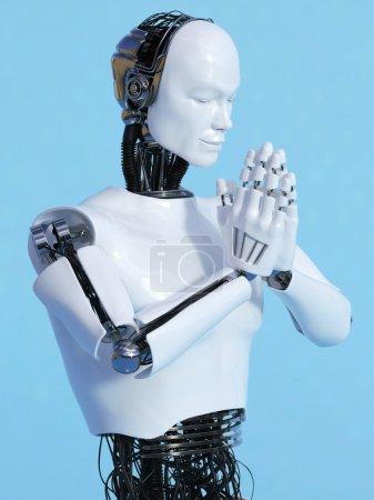 Robot man doing namaste nr 4.
