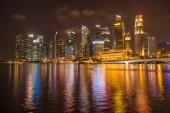 Singapore business district skyline after sun set